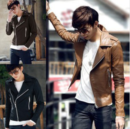 Wholesale New Men Leather Zipper Design Jackets Slim Long Sleeve Fashion Man s Thicken Clothes Outwears B1979