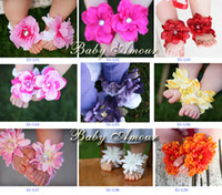Wholesale Baby Barefoot SandalsTOP BABY mixed Flowers Rhinestone Headband Foot flower Sandals baby Barefoot CL78H