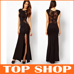 Wholesale Bodycon Dress Women Club Wear Paty Evening S XXL Sleeveless Sexy Black Lace Round Neckline Ankle Length Casual Clothing Street Style