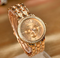Fashion acrylic crystal watch - 200PCS Luxury Geneva watches Brand Crystal stainless steel quartz watch women men fashion wristwatches color DHL Free