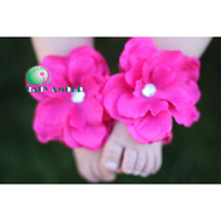 Wholesale Baby SandalsTOP BABY mixed Flowers Rhinestone Headband Foot flower Sandals baby Barefoot CL79H