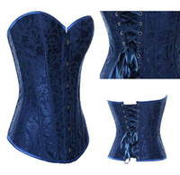 Wholesale NWT Women Blue Floral Corset Overbust Lace up Bustiers Top Sexy UnderweaTwinset S XL