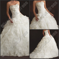 Newest Luxury 2014 Strapless White Princess Wedding Dresses ...