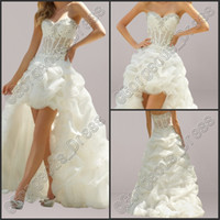Hot Sale 2014 Sweetheart High Low Wedding Dresses With Appli...