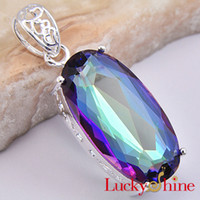 Wholesale Mystical Queen Gorgeous Fine Huge Long Mystic Topaz Elegant Crystal Pendant P0098