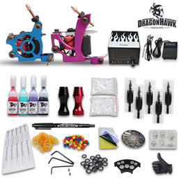 Wholesale USA Dispatch Professional complete cheap tattoo kits guns machines ink sets equipment needles grips tubes power DUN