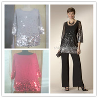 Wholesale Mother Of the Bride Pant Suits Elegant Black Chiffon With Sleeves pc Sequins Mother of the bide dresses