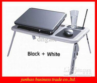 Double Fans Plastic  Wholesale - Brand New Cool ABS Laptop Computer Desk Foldable Table Notebook Radiator Portable Bedding Table
