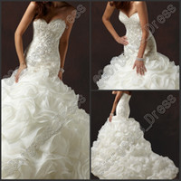 Newest Luxury Sweetheart Mermaid White Wedding Dress Tiered ...