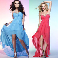 Wholesale 2014 new spaghetti straps high low beaded ruffle chiffon short front long back watermelon red blue girls party gonw evening prom dresses