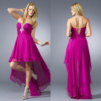Wholesale Exquisite sexy sweetheart beaded plum red chiffon hi lo fashion short front long back high quality pretty girls cocktail party rom dresses