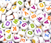 Letters & Numbers plastic beads - mm Round Acrylic Mixed White With Colors Letter Plastic Alphabet Beads Letter Acrylic Alphabets