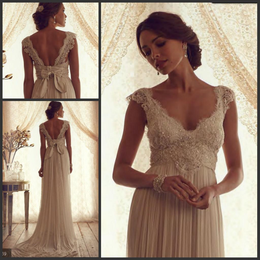 Lace beads pleat sash empire waist v neck cap sleeves for Empire lace wedding dress