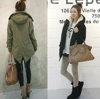 Wholesale 2013 Winter Women Thicken Fur Quilted Woolen Outwears Lady Green Black Long Sleeve Warmest Coats Jackets B1985