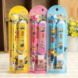 Wholesale Despicable me Minions pencil eraser pencil lead set cartoon stationery children s school things retail