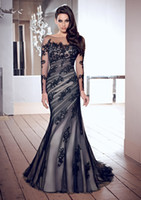 Wholesale New Charming Black Sheer Long Sleeve Mermaid Formal Evening Dresses Bateau Neck Backless Covered Button Lace Applique Long Prom Gowns