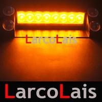 Revisiones Nave de luz estroboscópica de advertencia-Envío libre Ámbar blanco 8 LED flash estroboscópico Advertencia ccsme del coche camión de bomberos luz intermitente lámpara de la niebla