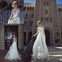 Hot Sale V- neck A- line Wedding Dresses With Applique Floor L...