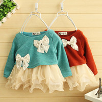 Spring / Autumn A-Line Knee-Length Autumn Baby Girls Dress Children Korean Knit Bowknot Tulle Tutu Dress Kids Fashion Butterfly Party Birthday Dress Boutique Clothing 869