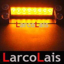 Amber 8 LED Strobe Flash Warning EMS Car Truck Light Flashing Firemen Fog Lights 8LED