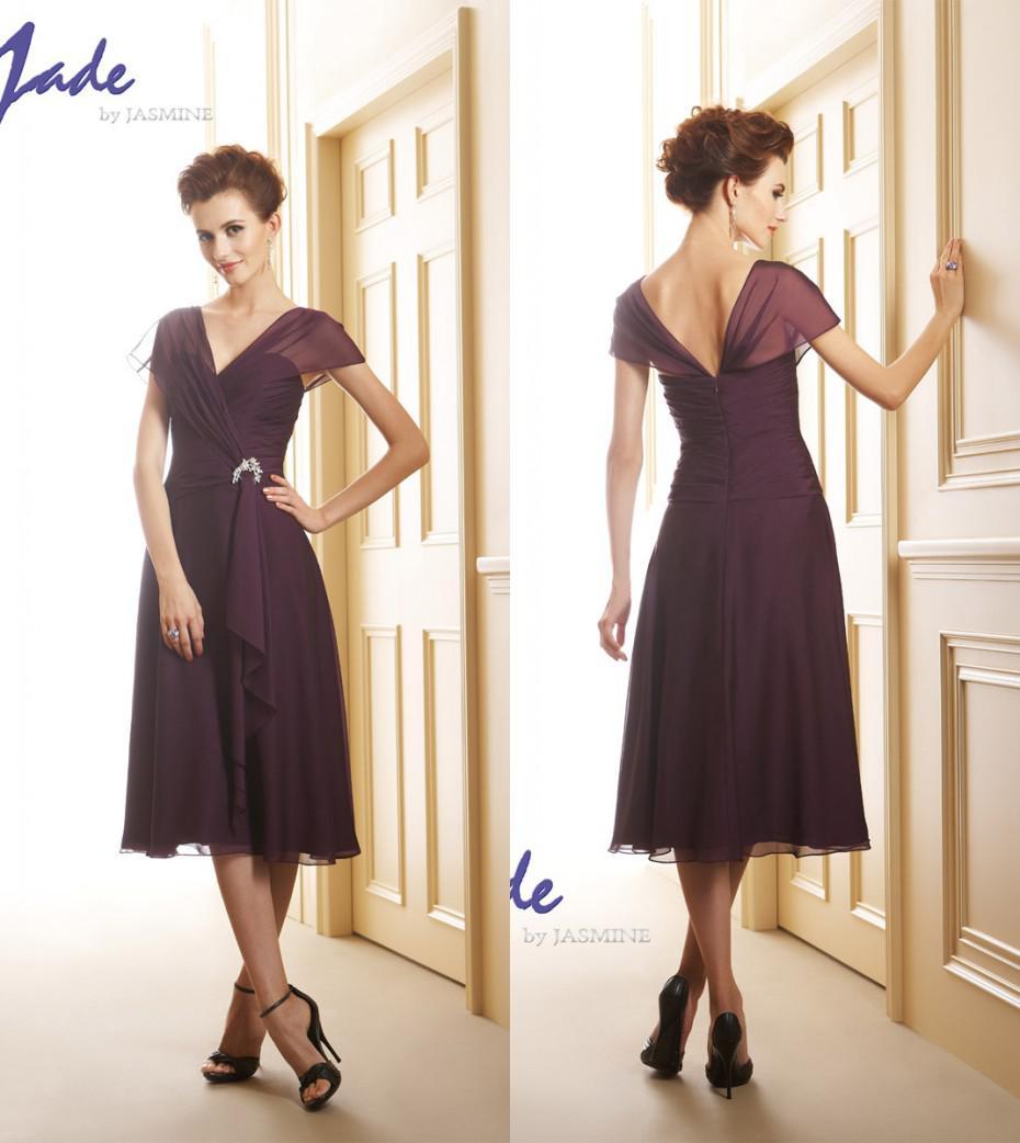 2014 Mother of the Bride Groom Dresses V Neck Chiffon Purple A-Line ...