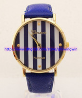 Wholesale 2013 New Geneva Leather bands Stripe face golden cases women ladies girls fashion Platinum good quality watches