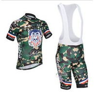 Wholesale new men s Camouflage cycling jersey team cycling jerseys bicycle wear short sleeve bib shorts cycling Clothing