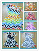 Wholesale New baby dress Chevron one shoulder dress with lace straps lovely pink cotton dress for babys DHL free