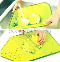 Wholesale Multifunctional foldable drain and plastic cutting board cutting chopping board kitchen supplies