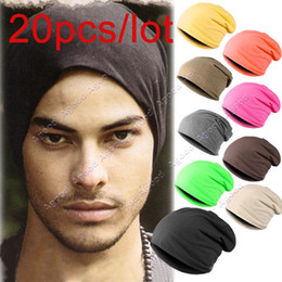 Wholesale 20pc New Solid Color Unisex Hip hop Cap Beanie Hat Winter Slouch Colors One Size Elastic