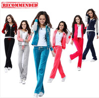 Wholesale Good Quality Womens Cheap Long Sleeve Velour Sportswear Hooded Tracksuits From China Brand Sports Suits Black Sapphire Blue Grey Pink