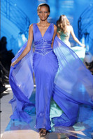 Reference Images V-Neck Chiffon Sexy Evening Dresses Zuhair Murad Ruched Bodice Mermaid Shiny Beaded Sequins Goddess Greek Stylish Women Formal Prom Pageant Party Cheap Hot