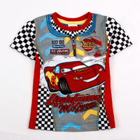 Wholesale C2391 Blue Nova Kids Clothes y y children boys t shirts cotton short sleeve cartoon Mcqueen car printing design tee shirts for summer