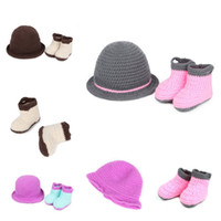 Wholesale 1set Baby Infants Knit Hat Beanie Crochet Shoes Photography Props Cap Socks Kids Clothes Lovely Gift XDT21