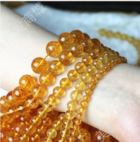 Angel 4-12mm Round free shipping 4-14mm DIY jewelry material natural citrine gemstone round beads 15 inch,Fit bracelet necklace sweater chain