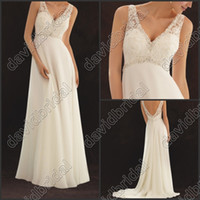 affordable pearls - 2014 Affordable Lace Applique Pearl Beaded Deep V Neck A Line Long White Wedding Bridal Dresses Evening Gowns No Sleeve No Sleeve