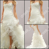 Wholesale 2014 Fornt Short Long Back A Line Sweetheart White Ruffles Organza Beads Sequins High Low Wedding Dresses Beads Sequins Cheapest