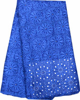 Wholesale by DHL High quality hollow out wedding fabric African embroidered swiss cotton voile lace fabric in ROYAL BLUE PINK BEIGE