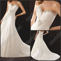 Autumn/Spring affordable formal dresses - 2014 Affordable Crystle Beaded Ruched Sweetheart Long White Wedding Bridal Dresses Long Formal Evening Gowns Lace Up No Sleev