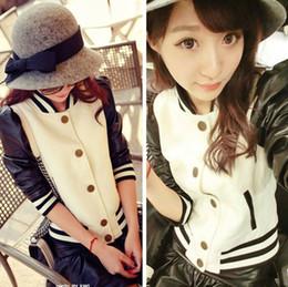 прекрасные женские моды бейсбольной куртке PU кожаный рукав однобортный Спорт полупальто t5729
