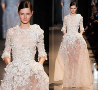 Crepe 3/4 Long Sleeve Sweep Train 2014 Elie Saab Dress Ball Gown Evening Dress Champagne With Applique Long Sleeve Nude Beautiful Spring Party Gowns