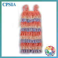 Wholesale 2013 Fashion baby colorful lace multiclor straps romper coral blue cream color mix infant children organic rompers DHL free