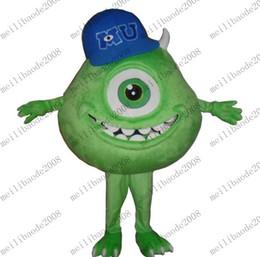 Wholesale Haute Qualité monstres verts Mike Wazowski One Eyed costume de mascotte Cartoon Hallowmas de Noël Party Dress MYY6858