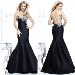 Wholesale 2014 Sexy Appliques Bead Mermaid Satin Backless Sheer Prom Dresses Evening Gowns With Sweetheart Sleeveless Court Train