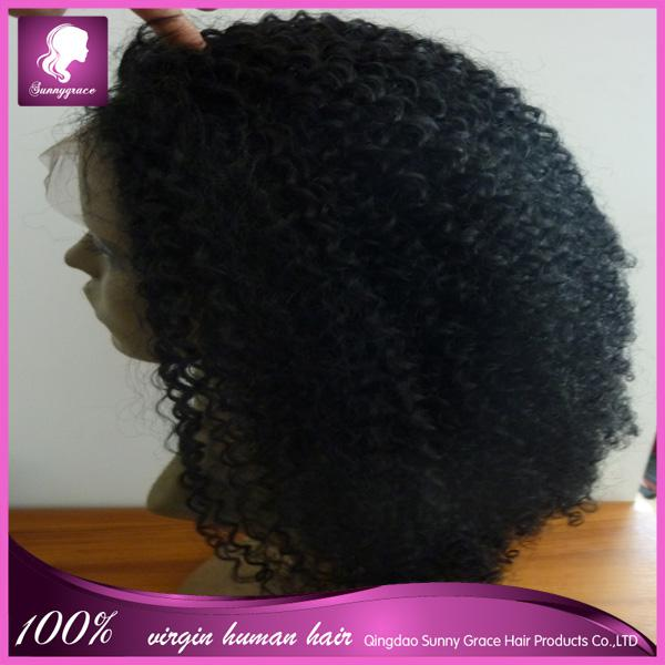 Afro Kinky Curly Indian Virgin Human Hair Full Lace Wig