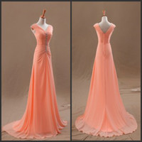 Wholesale V neck Pleats Coral Chiffon Sweep Train Sexy Evening Gowns Cheap Bridesmaid Formal Graduation Dresses Custom Made Free Gift Necklace