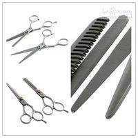 Wholesale 1set Regular Hairdressing Hair salon Cutting Thinning Silver Shears Stainless steel Scissors Set Tool