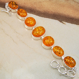Top Quality Beautiful Unique Silver Bracelet Hot Item Orange Amber Jewelry CB0020