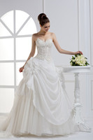 Wholesale 2014 New Arrival Sweetheart Lace sexy A Line Hand made flower Sweep train Bridal Gowns Wedding Dresses Gowns