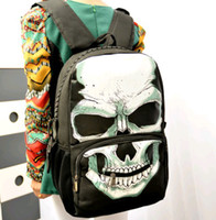Wholesale Drop ship Party Women s Backpacks Black Skull preppy style Casual man Backpack XMAS gift